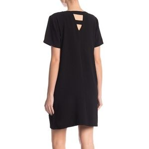 Bobeau Black Shift Dress with Back Detail